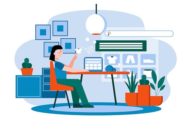 Una persona haciendo dropshipping y comercio electrónico