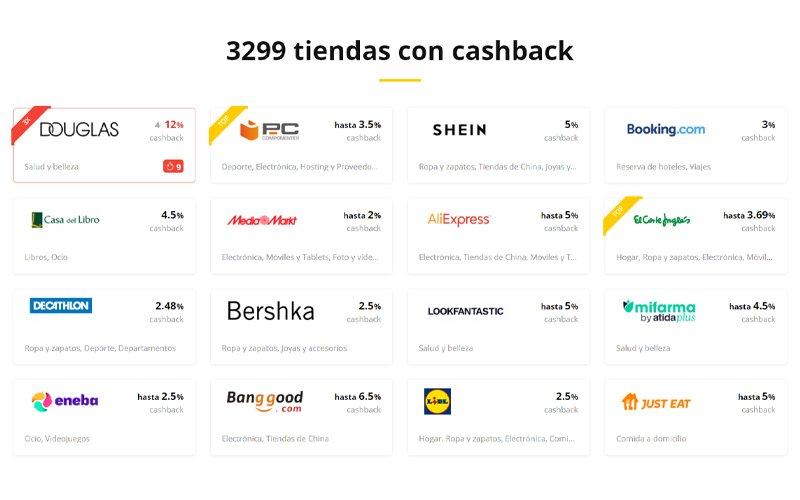 Más de 3299 tiendas con cashback en LetyShops España